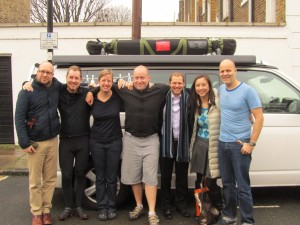 with Hugh, Paul, Steve, Gaudy, Annie ... and of course Cali the van