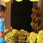 "Trying before buying bananas in ""Banana Valley"" en route to Agadir"