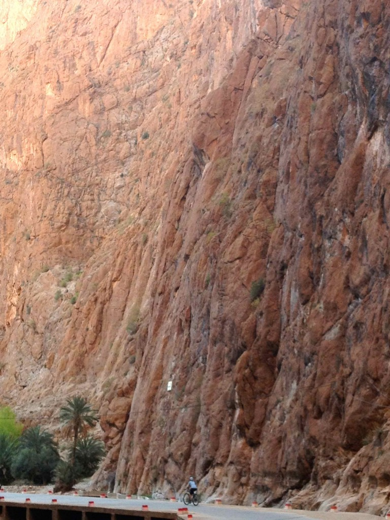 Dwarfed by the gigantic rock walls of the gorge