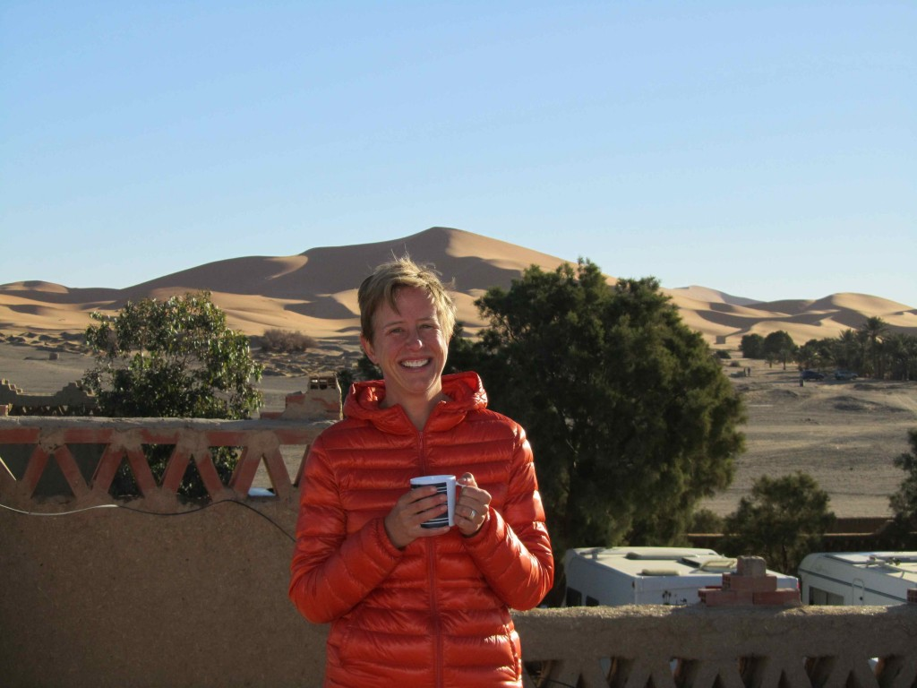 Enjoying a cup of tea with the dunes at our camp at Erg Chebbi
