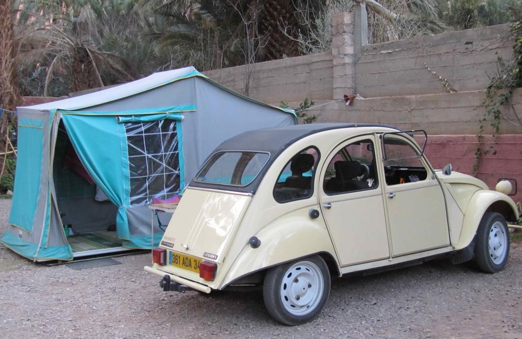 Citroen 2CV with trailer tent, Todra Gorge