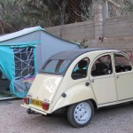 Citroen 2CV with trailer tent, Todra Gorge