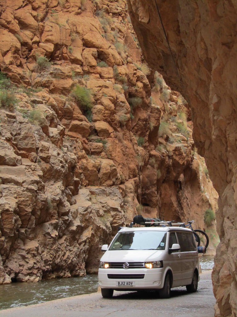 Cali driving the narrow Dades Gorge