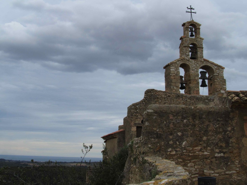 Church at Vespella de Gaia, with the Med in the distance