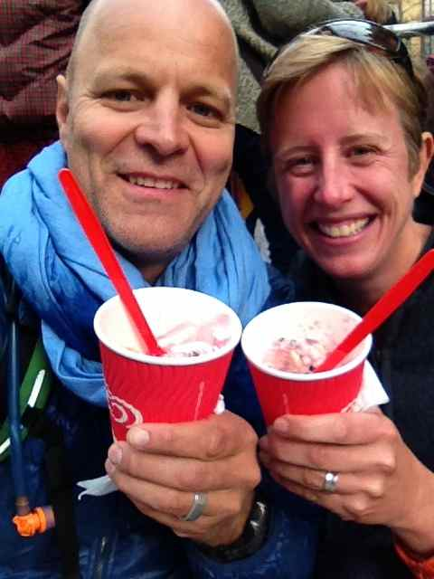 How mad are we, queuing for ice cream in the cold?  It was free ... and delicious!