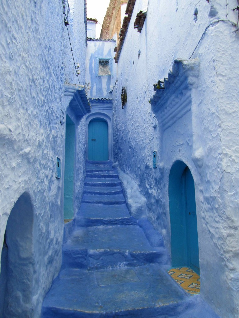 The blue tinted walls of Chefchaouen (in the maze-like medina pathways completely painted indicate a dead-end whereas through paths have just their edges painted)
