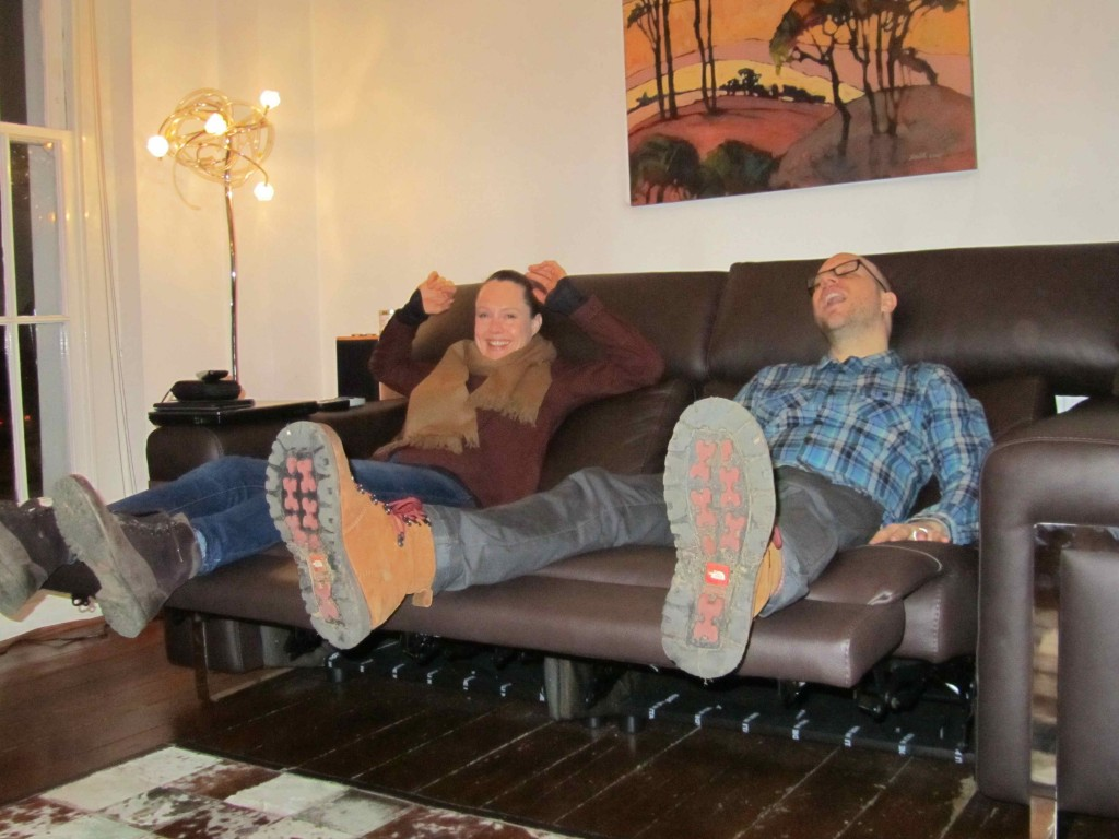 Catching up with friends: Sharron & Fraser's new lounge suite got more attention than we did!