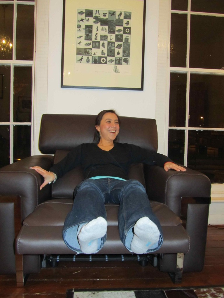Annie test driving the McGuicken's new furniture