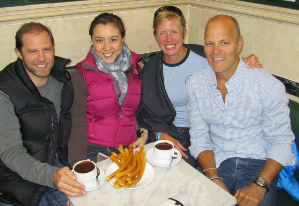 With Annie and Gaudy at the legendary Cafe San Gines, open since 1894 and serving hot chocolate and churros 24/7