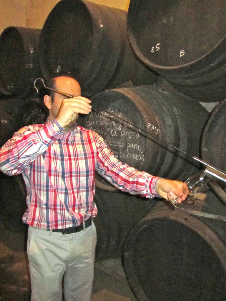 Fino tasting direct from the barrel at Lagar Blanco
