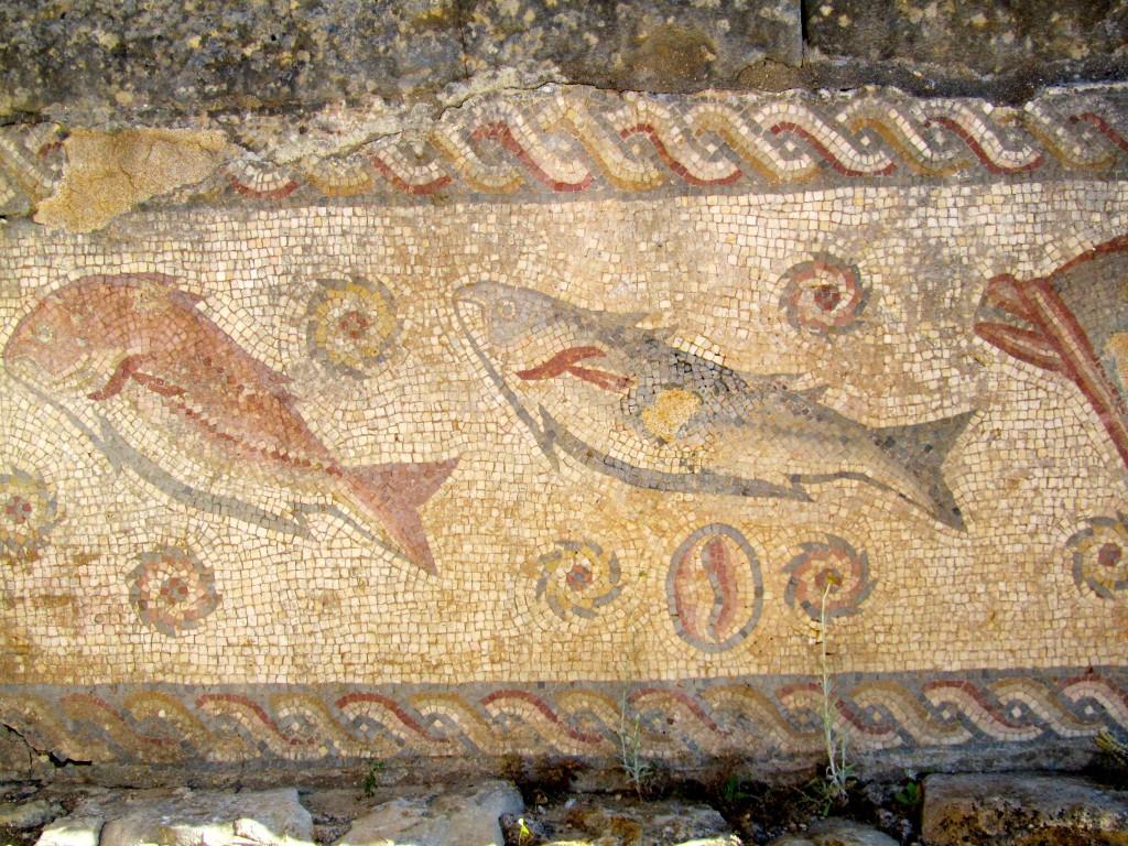 Fish mosaics decorating the baths at the Roman villa at Milreu