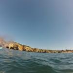 Heading towards Praia da Rocha on the SUPs