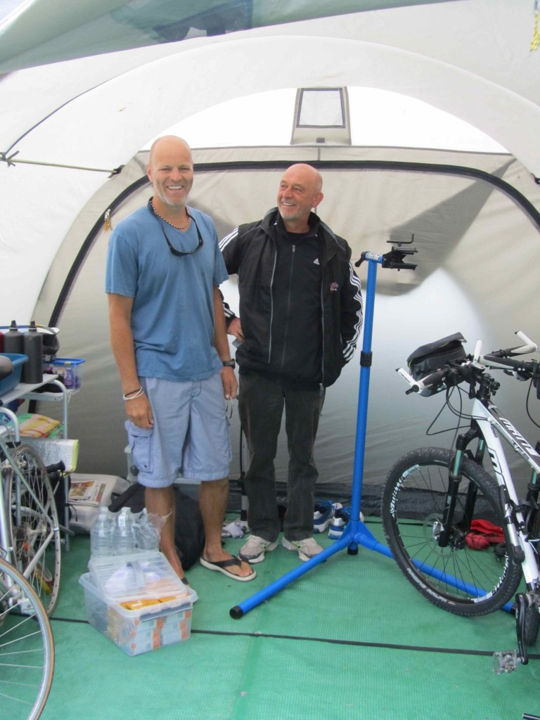 Leigh's ideal neighbour - an ex-professional cyclist with a bike repair tent