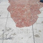Mosaic charting the routes of the explorers, including noting the discovery of the Cape of Good Hope
