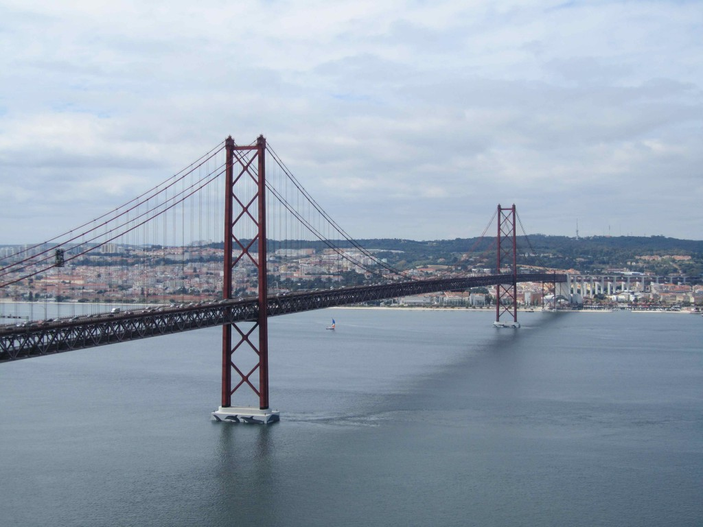 The Ponte 25th de Abril suspension bridge as seen from the Cristo Rei