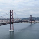 The Ponte 25th de Abril suspension bridge as seen from the Cristo Rei