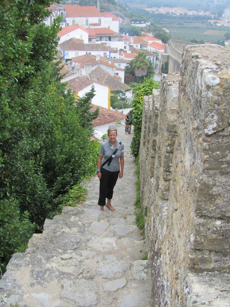 Climbing the town walls, Obidos