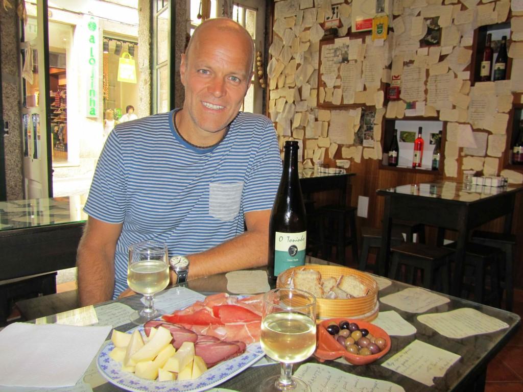 Enjoying the meat, cheese & wine at Taberna Don Rodrigo