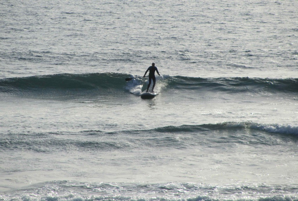 Leigh honing his SUP surfing skills