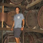 Leigh investigating the brandy barrels, Quinta da Aveleda