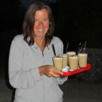 Service with a smile: coffees delivered to us by Renata
