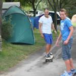 Leigh trying to keep up with our 13 year old neighbour, Lukas