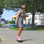 Skateboarding in camp