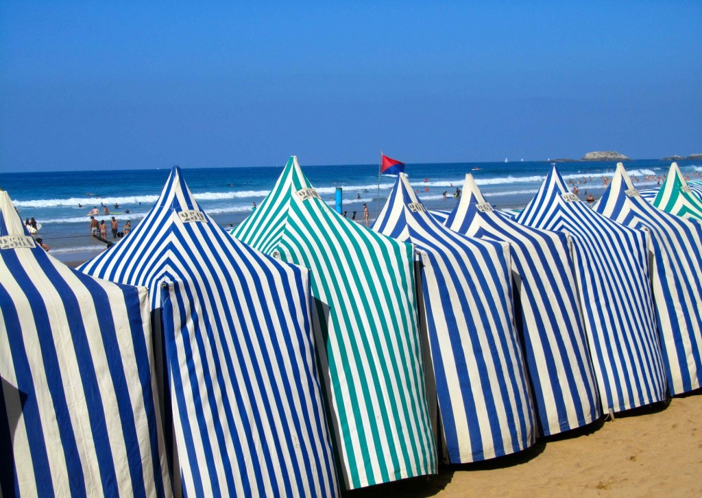 The famous beach huts made from awnings, Zarautz beach
