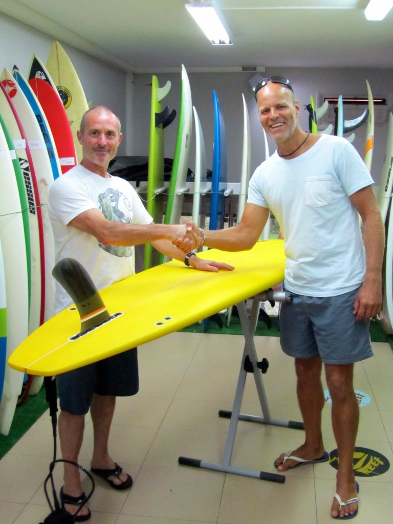 Leigh excited to be buying a longboard, Essus Surf, Zarautz