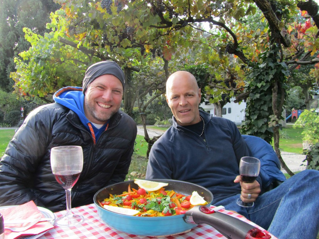 Dinner in camp, Lake Iseo