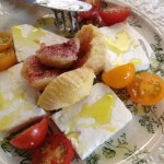 Fig, feta, tomatoes and olive oil - delicious!