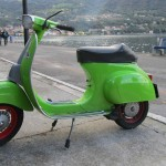 Green and red vespa, Monte Isola