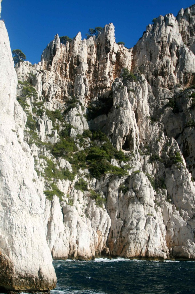 The dramatic limestone cliffs of the Calanques