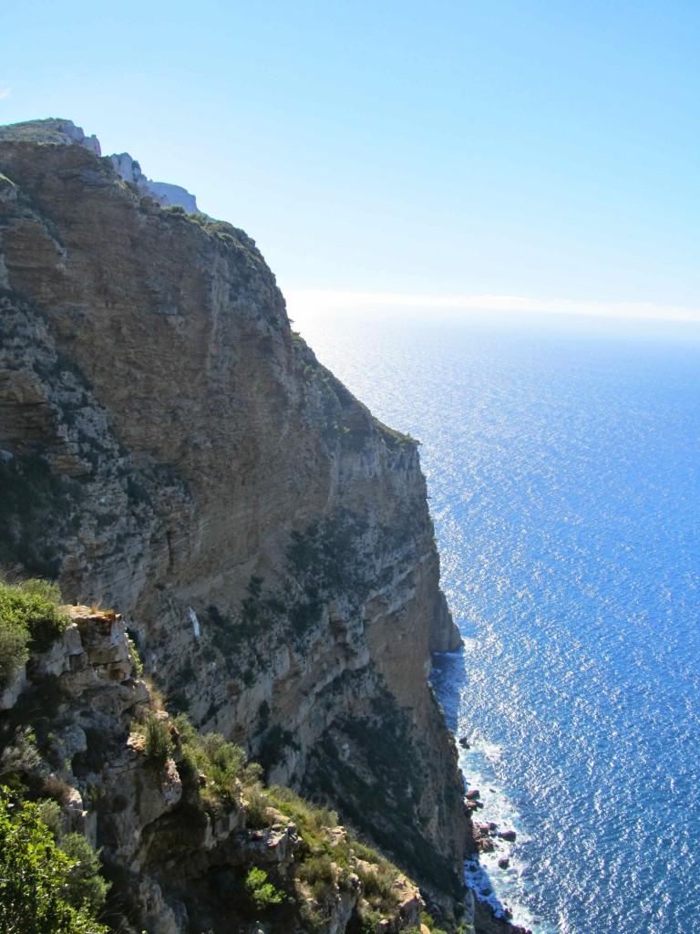 The dramatic sea cliffs along the Route des Cretes