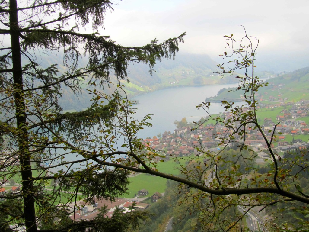 View over Lake Lungern from the mountain behind camp