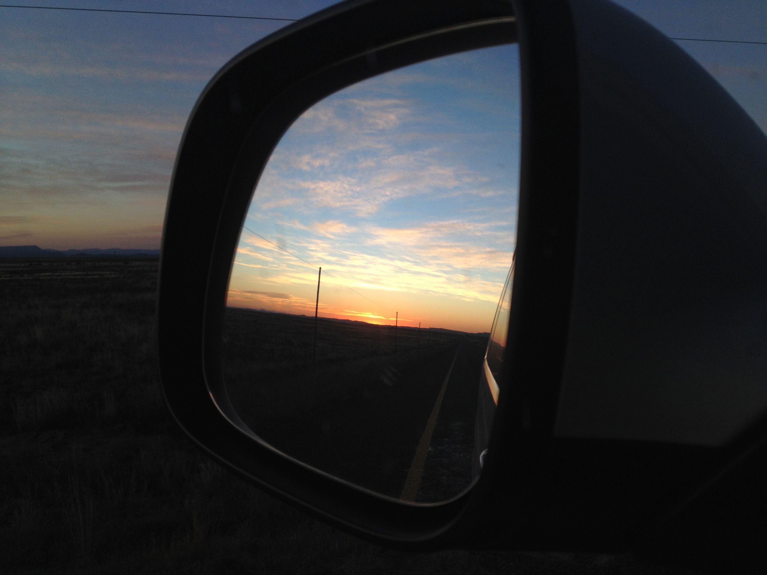 Sunrise on the empty roads through the Karoo