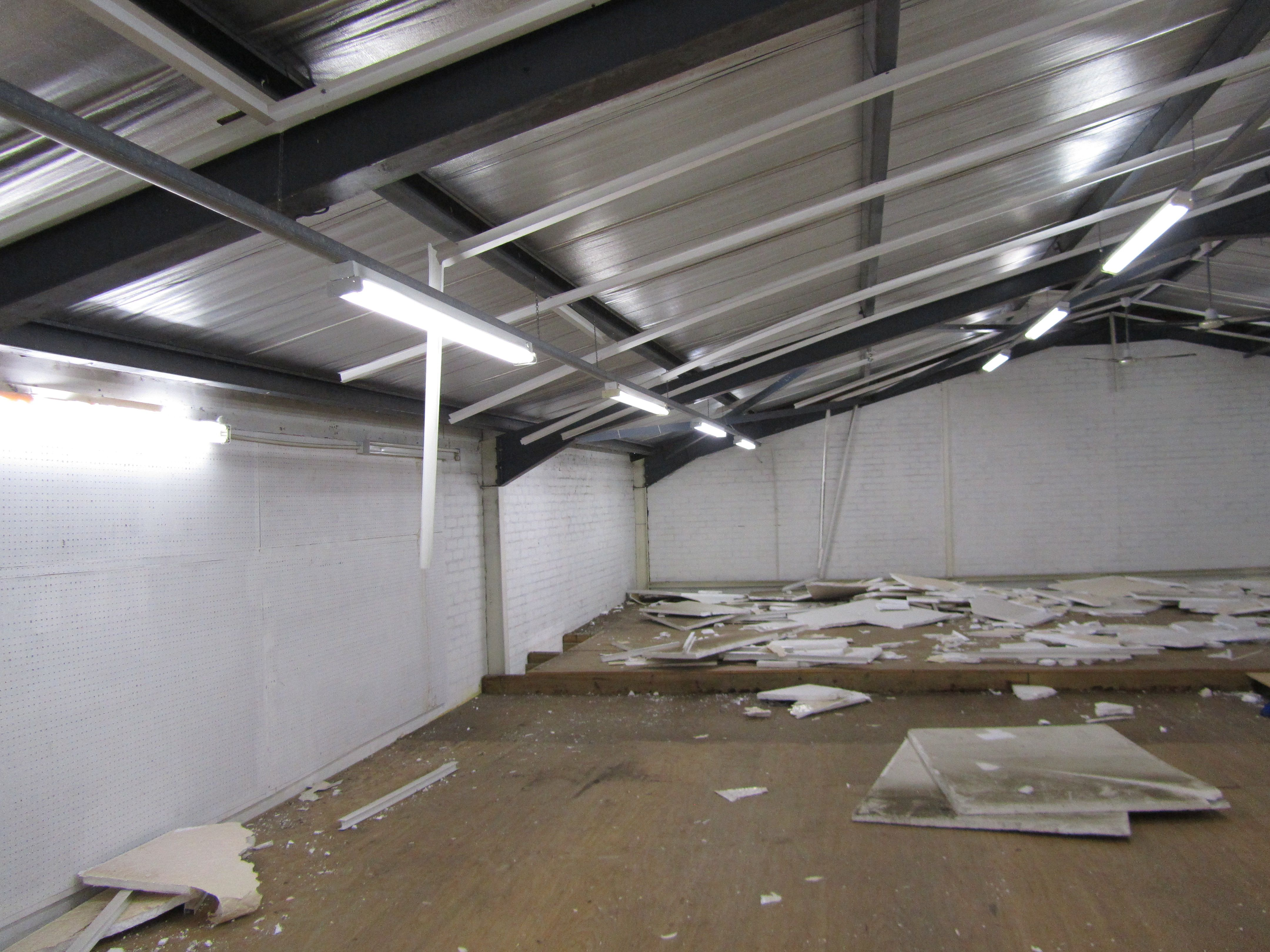The warehouse mezzanine (half of which will be removed)